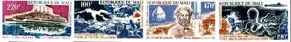 Mali 1975 Death Anniversary of Jules Verne (Author) set of 4 imperf from limited printing, as SG 478-81*