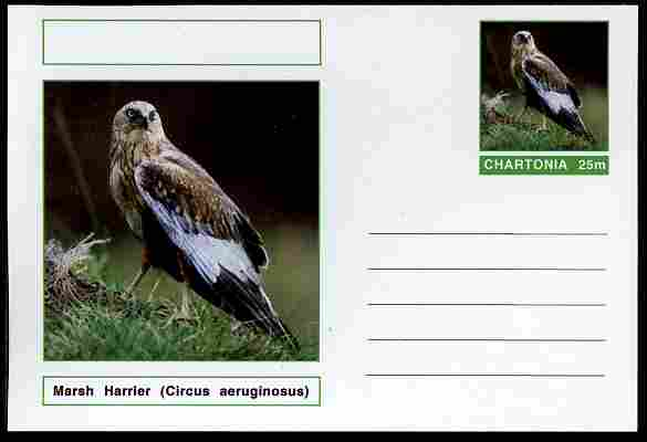 Chartonia (Fantasy) Birds - Marsh Harrier( Circus aeruginosus) postal stationery card unused and fine