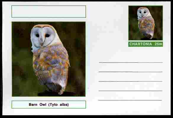 Chartonia (Fantasy) Birds - Barn Owl (Tyto alba) postal stationery card unused and fine