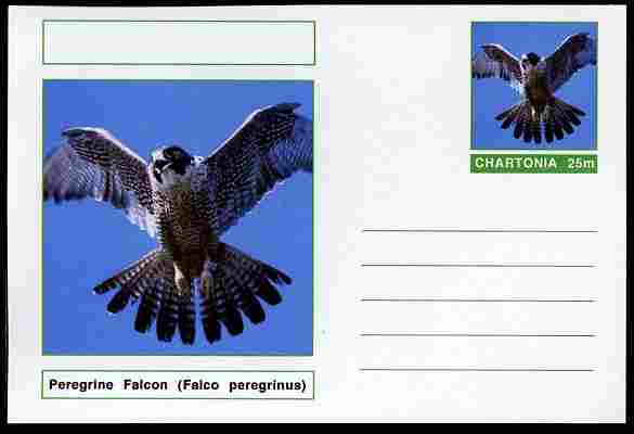 Chartonia (Fantasy) Birds - Peregrine Falcon (Falco peregrinus) postal stationery card unused and fine