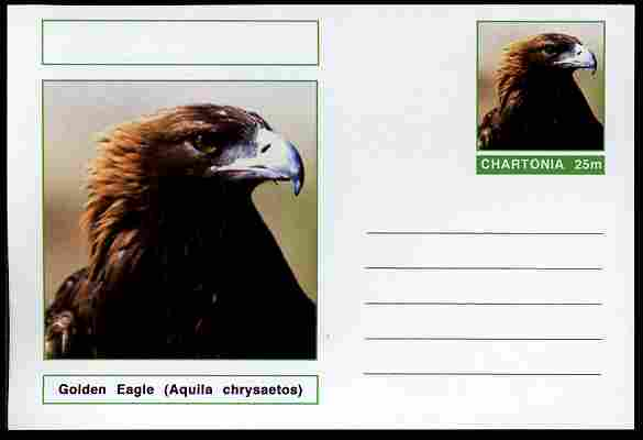 Chartonia (Fantasy) Birds - Golden Eagle (Aquila chrysaetos) postal stationery card unused and fine