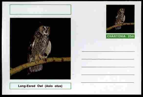 Chartonia (Fantasy) Birds - Long-Eared Owl (Asio otus) postal stationery card unused and fine
