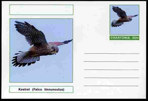 Chartonia (Fantasy) Birds - Kestrel (Falco tinnunculus) postal stationery card unused and fine