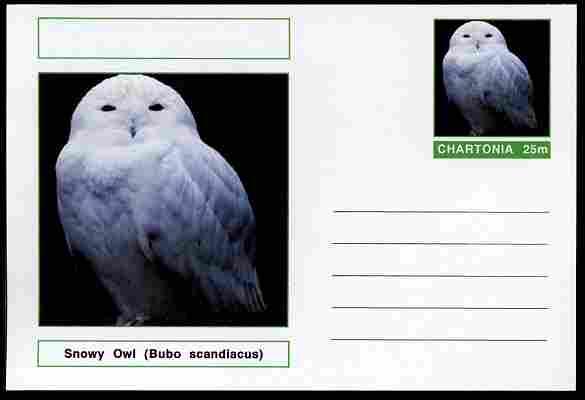 Chartonia (Fantasy) Birds - Snowy Owl (Bubo scandiacus) postal stationery card unused and fine