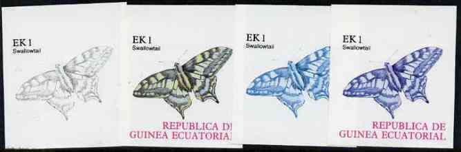 Equatorial Guinea 1977 Butterflies EK1 (Swallowtail) set of 4 imperf progressive proofs on ungummed paper comprising 1, 2, 3 and all 4 colours (as Mi 1197)