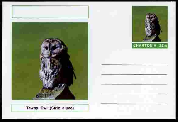 Chartonia (Fantasy) Birds - Tawny Owl (Strix aluco) postal stationery card unused and fine