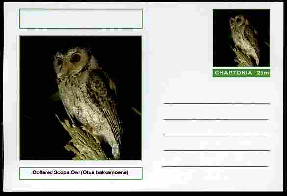 Chartonia (Fantasy) Birds - Collared Scops Owl (Otus bakkamoena) postal stationery card unused and fine, stamps on birds, stamps on birds of prey, stamps on owls