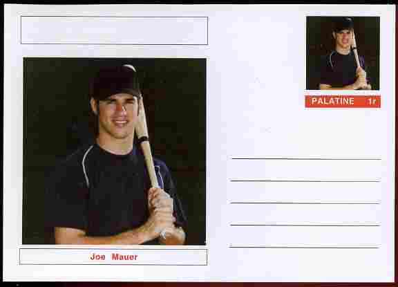 Palatine (Fantasy) Personalities - Joe Mauer (baseball) postal stationery card unused and fine