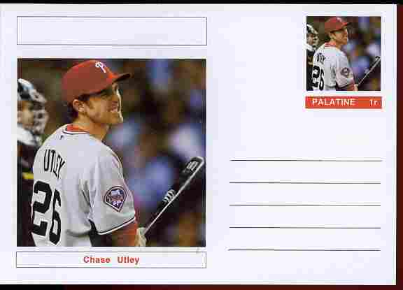 Palatine (Fantasy) Personalities - Chase Utley (baseball) postal stationery card unused and fine