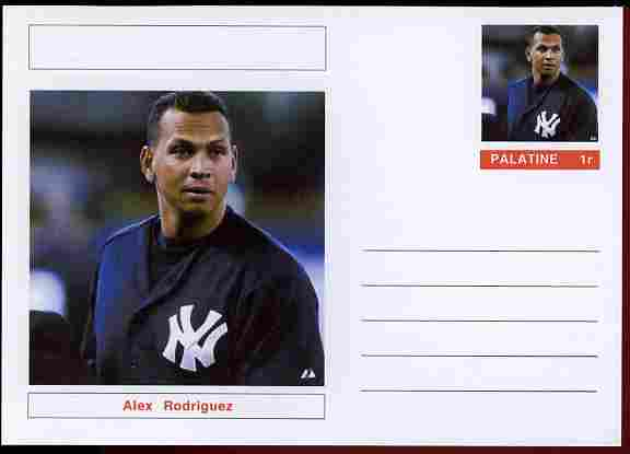 Palatine (Fantasy) Personalities - Alex Rodriguez (baseball) postal stationery card unused and fine