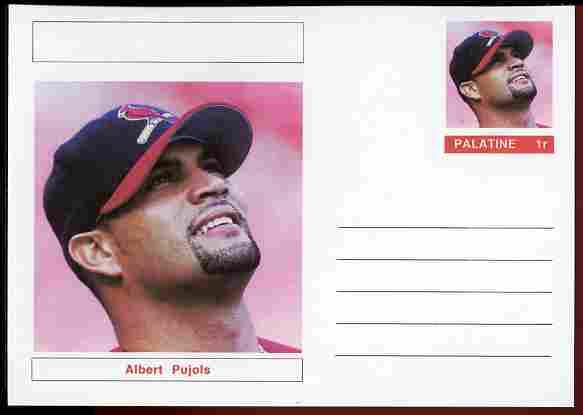 Palatine (Fantasy) Personalities - Albert Pujols (baseball) postal stationery card unused and fine