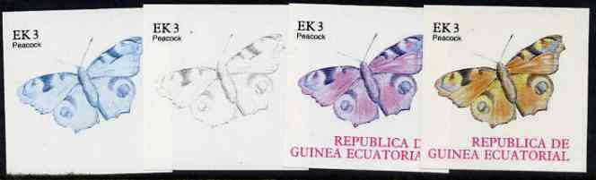 Equatorial Guinea 1977 Butterflies EK3 (Peacock) set of 4 imperf progressive proofs on ungummed paper comprising 1, 2, 3 and all 4 colours (as Mi 1198)