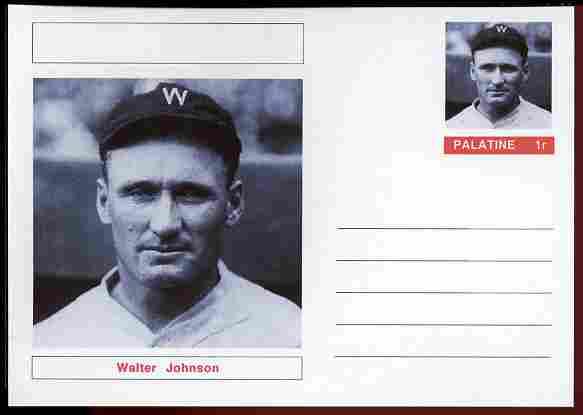 Palatine (Fantasy) Personalities - Walter Johnson (baseball) postal stationery card unused and fine