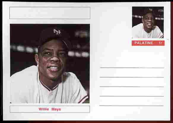 Palatine (Fantasy) Personalities - Willie Mays (baseball) postal stationery card unused and fine