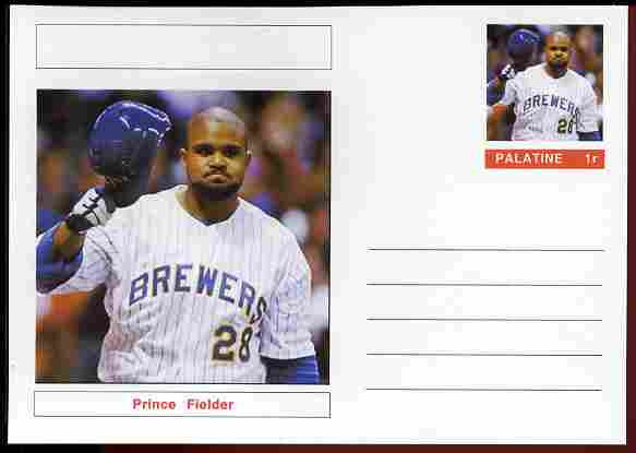 Palatine (Fantasy) Personalities - Prince Fielder (baseball) postal stationery card unused and fine