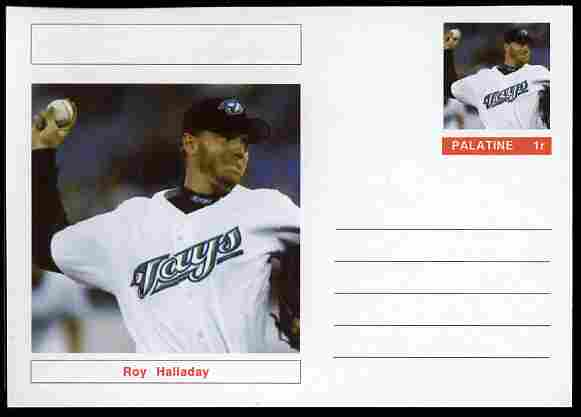 Palatine (Fantasy) Personalities - Roy Halladay (baseball) postal stationery card unused and fine