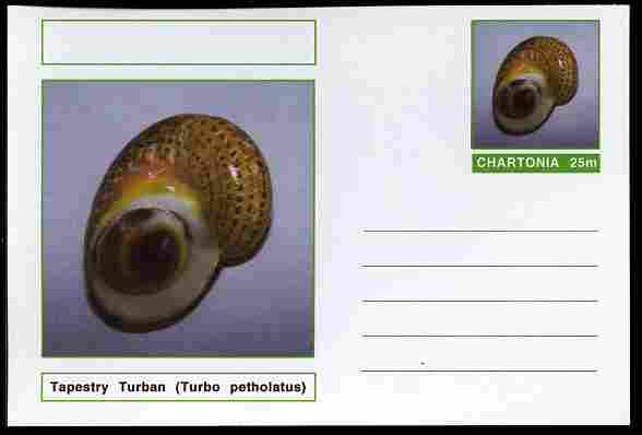Chartonia (Fantasy) Shells - Tapestry Turban (Turbo petholatus) postal stationery card unused and fine
