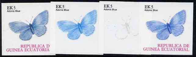 Equatorial Guinea 1977 Butterflies EK5 (Adonis Blue) set of 4 imperf progressive proofs on ungummed paper comprising 1, 2, 3 and all 4 colours (as Mi 1199)