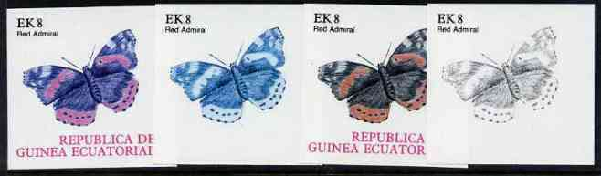 Equatorial Guinea 1977 Butterflies EK8 (Red Admiral) set of 4 imperf progressive proofs on ungummed paper comprising 1, 2, 3 and all 4 colours (as Mi 1200)