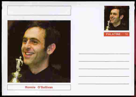 Palatine (Fantasy) Personalities - Ronnie O'Sullivan (snooker) postal stationery card unused and fine