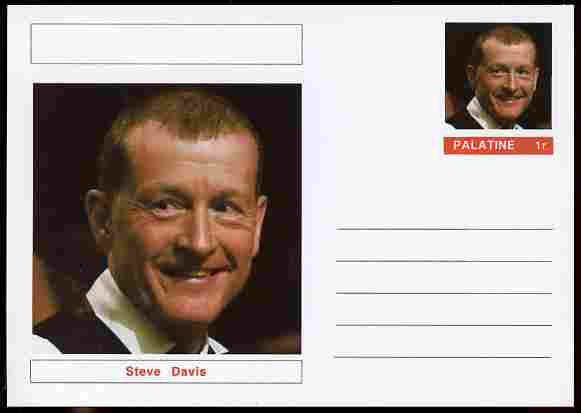 Palatine (Fantasy) Personalities - Steve Davis (snooker) postal stationery card unused and fine