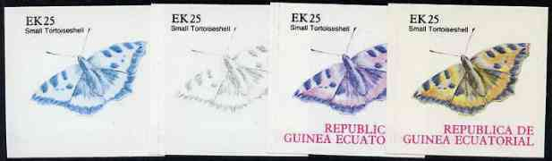 Equatorial Guinea 1977 Butterflies EK25 (Small Tortoiseshell) set of 4 imperf progressive proofs on ungummed paper comprising 1, 2, 3 and all 4 colours (as Mi 1201)