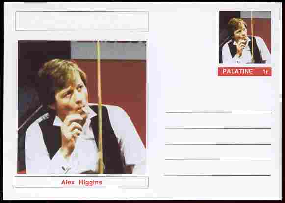 Palatine (Fantasy) Personalities - Alex Higgins (snooker) postal stationery card unused and fine