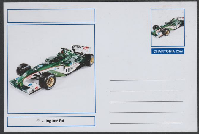 Chartonia (Fantasy) Formula 1 - Jaguar R4 postal stationery card unused and fine
