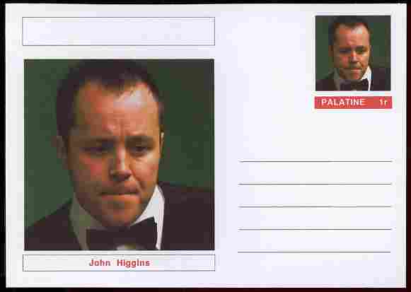 Palatine (Fantasy) Personalities - John Higgins (snooker) postal stationery card unused and fine