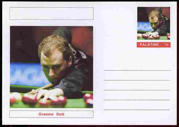 Palatine (Fantasy) Personalities - Graeme Dott (snooker) postal stationery card unused and fine