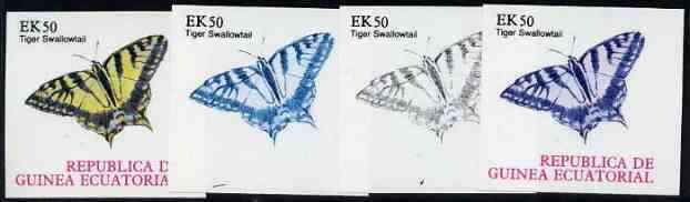 Equatorial Guinea 1977 Butterflies EK50 (Tiger Swallowtail) set of 4 imperf progressive proofs on ungummed paper comprising 1, 2, 3 and all 4 colours (as Mi 1202)