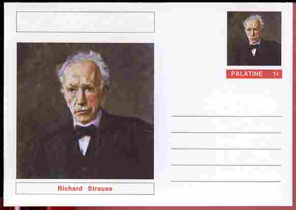 Palatine (Fantasy) Personalities - Richard Strauss (Composer) postal stationery card unused and fine