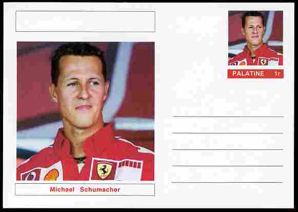 Palatine (Fantasy) Personalities - Michael Schumacher (F1 driver) postal stationery card unused and fine