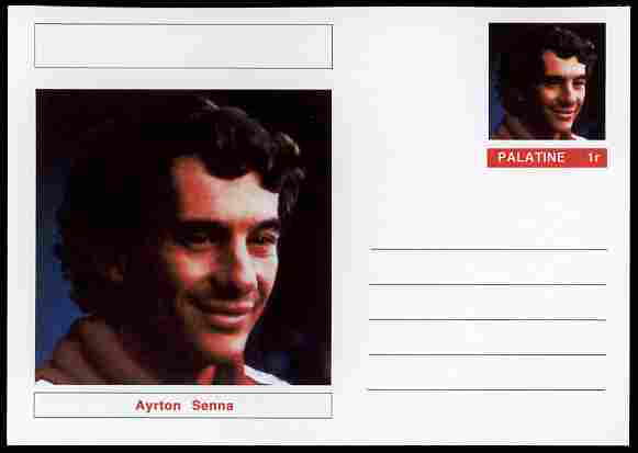 Palatine (Fantasy) Personalities - Ayrton Senna (F1 driver) postal stationery card unused and fine