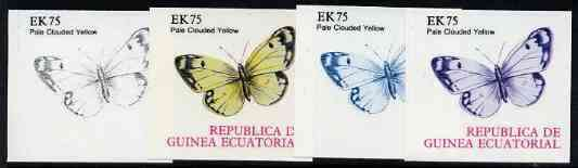Equatorial Guinea 1977 Butterflies EK75 (Pale Clouded Yellow) set of 4 imperf progressive proofs on ungummed paper comprising 1, 2, 3 and all 4 colours (as Mi 1203)