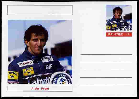 Palatine (Fantasy) Personalities - Alain Prost (F1 driver) postal stationery card unused and fine