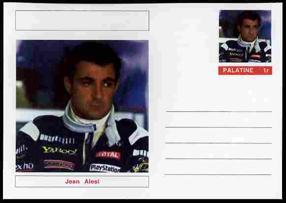 Palatine (Fantasy) Personalities - Jean Alesi (F1 driver) postal stationery card unused and fine
