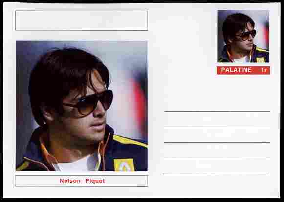 Palatine (Fantasy) Personalities - Nelson Piquet (F1 driver) postal stationery card unused and fine