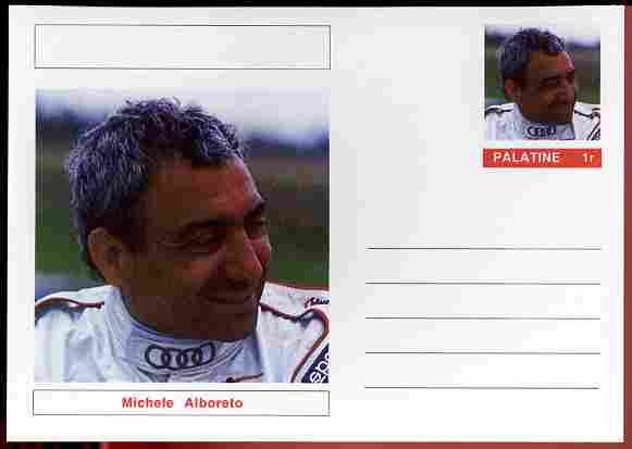 Palatine (Fantasy) Personalities - Michele Alboreto (F1 driver) postal stationery card unused and fine