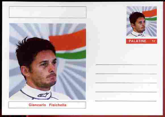 Palatine (Fantasy) Personalities - Giancarlo Fisichella (F1 driver) postal stationery card unused and fine