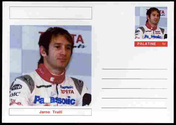 Palatine (Fantasy) Personalities - Jarno Trulli (F1 driver) postal stationery card unused and fine