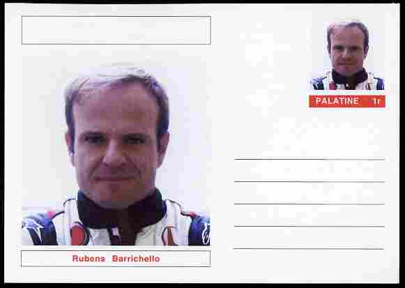 Palatine (Fantasy) Personalities - Rubens Barrichello (F1 driver) postal stationery card unused and fine