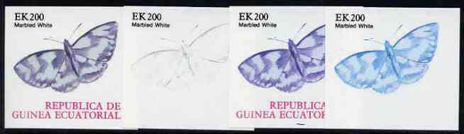 Equatorial Guinea 1977 Butterflies EK200 (Marbled White) set of 4 imperf progressive proofs on ungummed paper comprising 1, 2, 3 and all 4 colours (as Mi 1204)