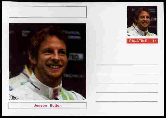 Palatine (Fantasy) Personalities - Jenson Button (F1 driver) postal stationery card unused and fine