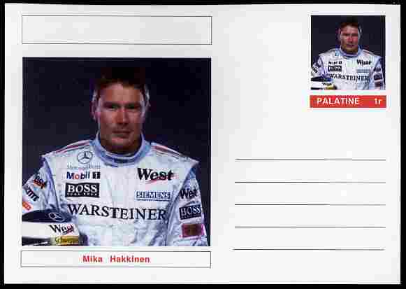 Palatine (Fantasy) Personalities - Mika Hakkinen (F1 driver) postal stationery card unused and fine
