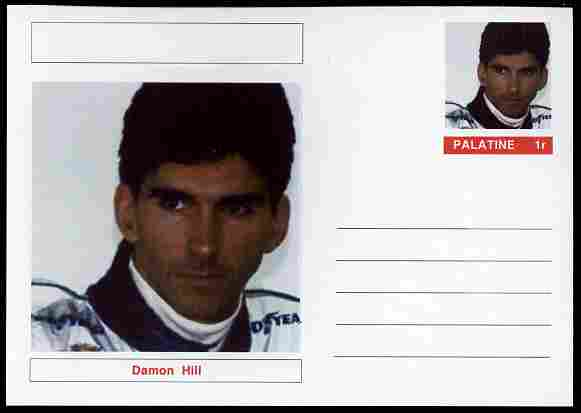 Palatine (Fantasy) Personalities - Damon Hill (F1 driver) postal stationery card unused and fine