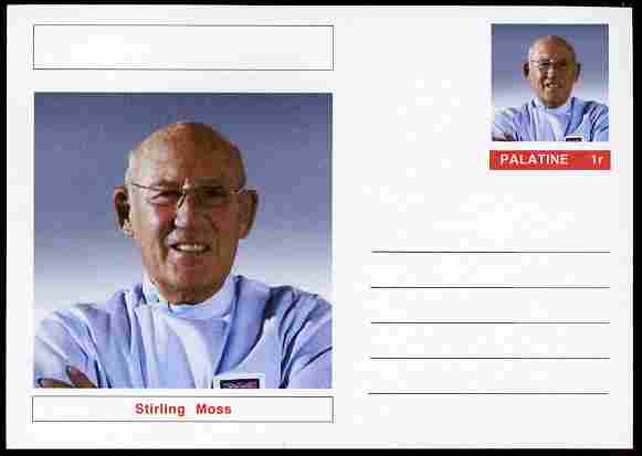 Palatine (Fantasy) Personalities - Stirling Moss (F1 driver) postal stationery card unused and fine