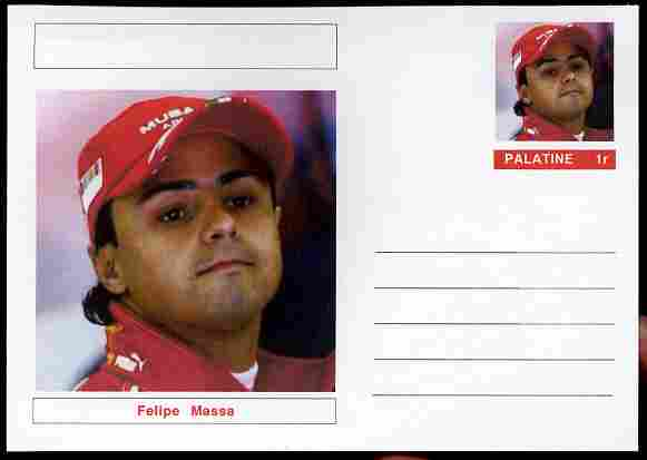 Palatine (Fantasy) Personalities - Felipe Massa (F1 driver) postal stationery card unused and fine