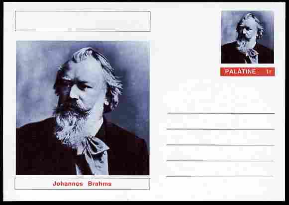 Palatine (Fantasy) Personalities - Johannes Brahms (Composer) postal stationery card unused and fine