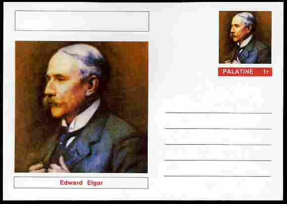 Palatine (Fantasy) Personalities - Edward Elgar (Composer) postal stationery card unused and fine